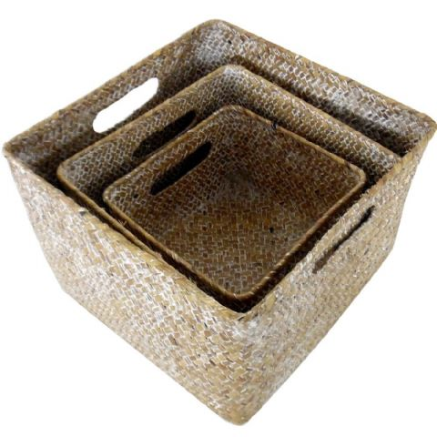 Woven Wicker 3 Square Nesting Organiser Storage Baskets